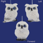 Small White Plush Owl Ornaments