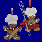 Girl or Boy Gingerbread with Utensil Ornaments