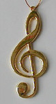 "Mini Music Note Ornament - Lightweight Gold Metal - Clef Note - 3 1/4"" long #HI2631"