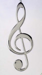 "Mini Musical Note Ornament - Silver Metal, Clef Note, 5 1/4"" long #BG2648"