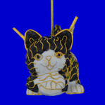 Cat Angel Cloisonne Ornament - Black and White