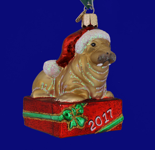 Dated 2017 Holiday Walrus Glass Ornament