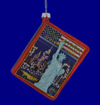 New York Travel Book Glass Ornament