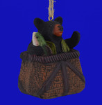Bear in Fishing Basket Ornament