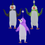 Cartoonish Penguins Glass Ornaments