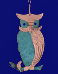 Owl Verdigris Copper Ornament