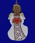 "African American Love Girl Angel Ornament - Figurine, 4 1/8"", PG19060"