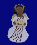 African American Peace Girl Angel Ornament - Figurine