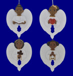 Flat Back African American Girl Cherub Ornament