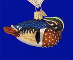 "Wood Duck Glass Ornament, 1 3/4"" x 3 1/4"", OWC #16046"