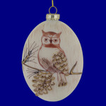 Owl on Pinecone Branch Oval Glass Ornament