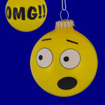 OMG Emoji Smiley Face Glass Ornament