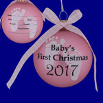 "Dated 2017 Pink Baby's First Christmas Glass Ornament for Personalizing, 3 3/4"", KRCBK710004A-P Made in USA"