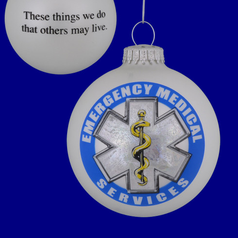 First Responder EMS Glass Ornament