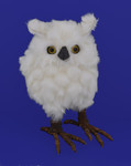 Ruffled Fur Chubby White Owl Figurine - Medium