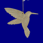 Champagne-Gold Glittered Acrylic Hummingbird Ornament