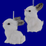 Small Faux Fur White Rabbit Ornaments