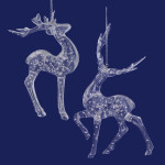 Speckled Bubbles Clear Acrylic Deer Ornaments