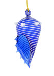 Blue Striped Seashell Mouth Blown Egyptian Glass Ornament