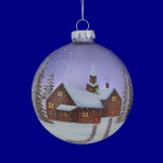 "Snowy Brick Cabin - Church Scene Glass Ball Ornament, 4 1/2"", MW140578"