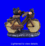 Carved Look Black Bears on Bicycle Figurine  lightened for details