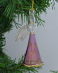 Standing Angel Mouth-Blown Egyptian Glass Ornament - Purple