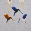 Mini Hummingbirds Mouth Blown Egyptian Glass Ornaments 3 pc set  side views