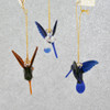 Mini Hummingbirds Mouth Blown Egyptian Glass Ornaments 3 pc set  front back views