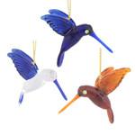 Mini Hummingbirds Mouth Blown Egyptian Glass Ornaments 3 pc set