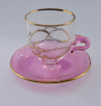 Teacup and Saucer Mouth-Blown Egyptian Glass Ornament Pink