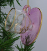 Teacup and Saucer Mouth-Blown Egyptian Glass Ornament Pink side