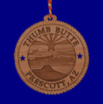 "Thumb Butte Prescott AZ Wood Ornament, 3 5/8"", AW10547 - Made in USA"