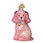 Pink Poodle Glass Ornament 12513 Old World Christmas