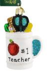 Best Teacher Mug Glass Ornament 32318 Old World Christmas white background