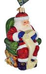 Santa Checking His List Glass Ornament 40300 Old World Christmas