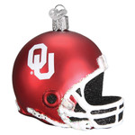 NCAA University of Oklahoma Football Helmet Glass Ornament 60417 Old World Christmas