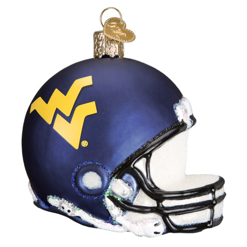 NCAA West Virginia Football Helmet Glass Ornament 63617 Old  World Christmas