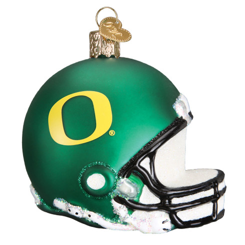 NCAA Oregon Football Helmet Glass Ornament 63717 Old World Christmas
