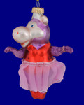 Dancing Hippo Glass Ornament