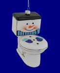 Frosty the Toilet Glass Ornament