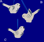 Delft Styled Blue and White Small Bird Ornaments