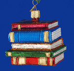 "Stack of Books Education Glass Ornament, 2 1/2"", OWC #32112"