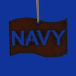 Rustic Cut Steel Navy Flag Ornament