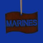 "Rustic Cut Steel Marines Flag Ornament, 2 3/8 x 3 1/2"", RU10977 - USA"