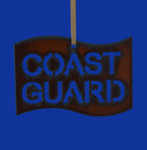Rustic Cut Steel Coast Guard Flag Ornament made in USA