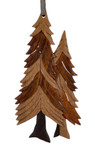 Pine Trees Intarsia Wood Ornament