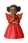 Praying African American Little Girl Angel Ornament - red gown