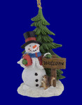 Woodland Snowman Scene Ornament  Figurine x3706