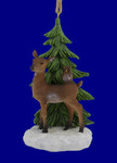Woodland Deer Scene Ornament Figurine