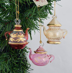 Mini Teapot Mouth Blown Egyptian Glass Ornaments Set 3 piece Set